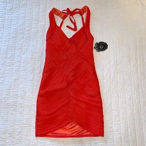NWT! C. Luce Red/Orange Tie Cocktail Dress